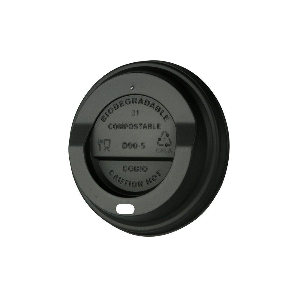 CPLA-Deckel Ø 90 mm, schwarz, Trinköffnung