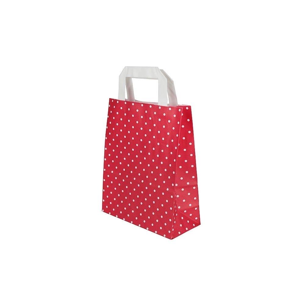 Kraftpapier-Tragetaschen S, 18 x 8 x 22 cm, rot weiß gepunktet