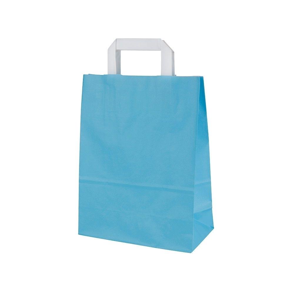 Kraftpapier-Tragetaschen M, 22 x 10 x 31 cm, hellblau