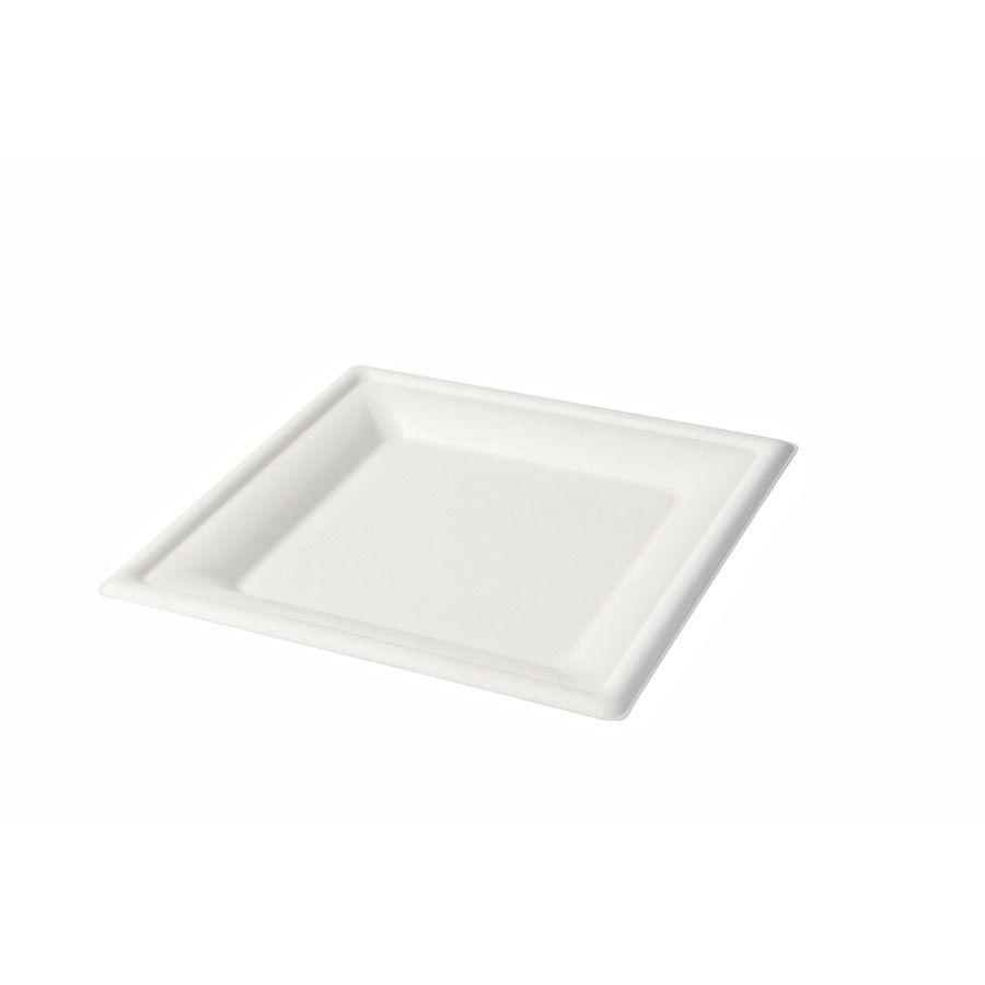 Zuckerrohr-Teller 20 x 20 cm, quadratisch