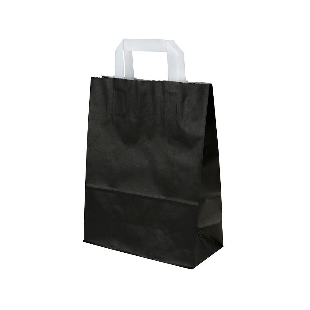 Kraftpapier-Tragetaschen M, 22 x 10 x 31 cm, schwarz